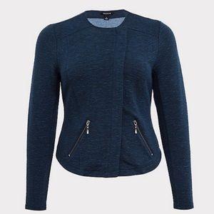 Torrid Blue Knit ZIP Moro Jacket